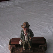 Folk Art Walnut Gentleman's Valet with Carved Hobo Figurine
