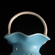 Blue Diamond Hobnail Large Basket w/ White Twisted Ribbed Handle