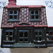 Cast Iron AC Williams Colonial House Still Bank, 95% Original Paint