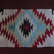 """Navajo Weaving, 17"""" X 34"""", Saddle Blanket"""