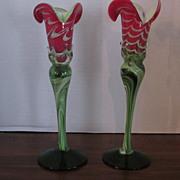 Pair Hand Blown Red, White, Green Art Glass Bud Vases