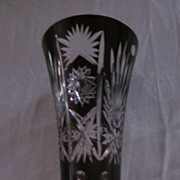 """Bohemian Glass Ruby Cut to Clear 12 1/4"""" Vase"""