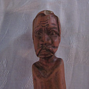 Hand Carved Folk Art Curved Wooden Cane