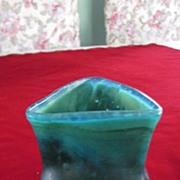 Green Iridescent Triangular Pinched Side Vase