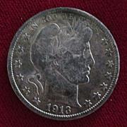 US Barber Half 1913 Semi Key Date
