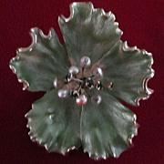 Kramer Dimensional Green Enamel Flower Pin