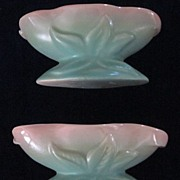 Haldeman's Caliente Pottery Green Candle Holders with Original Tag