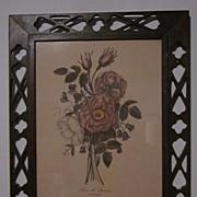 Pair Botanical Prints in Pierced Walnut Frames