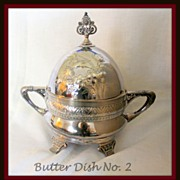 Repousse engraved covered butter dish with insert, ca 1860's