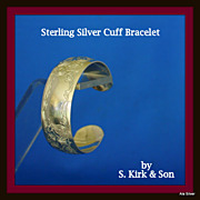 Kirk solid sterling silver cuff bracelet hand chased in a unique design