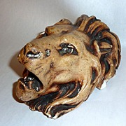 """Antique 19th Century 7"""" Lion Head Chalkware Match Holder"""