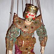 """Vintage Carved Teak Wood Burma Marionette 14"""" Ogre – Demon in a Pink Sarong"""