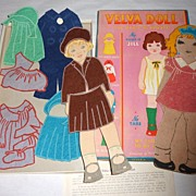 Vintage 1930's VELVA the Magic Playmate Paper Doll - Orig. Box & Clothes