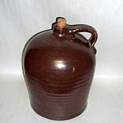 """Antique 12"""" tall Brown Slip Glazed Stoneware Cider / Whiskey Jug"""