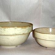 "2 Antique Stoneware Minnesota Farmhouse Bowls 12"" & 9"" diameters"