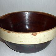 """Antique Stoneware Minnesota Farmhouse 10 1/2"""" Brown Salt Glazed Bowl"""