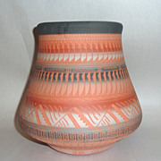 """Stunning 8"""" Intricately Etched Red Clay Navajo Pot signed A. Charley"""