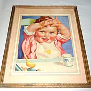 Vintage 1920 -1930 Print - Framed Baby in Highchair Art Advertisement