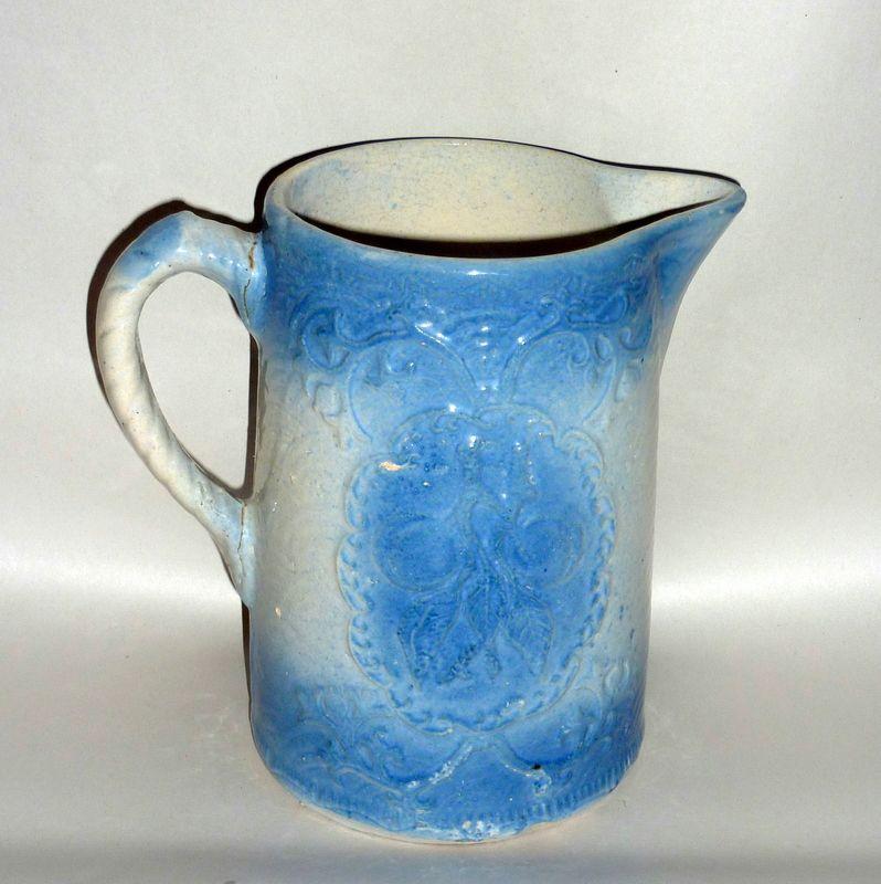 "Antique Blue & White Stoneware 8"" Apricot Relief Pitcher"