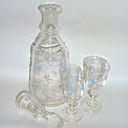 """Circa 1910 Blown Glass Enamel Flowered 9"""" Cordial Decanter with two 3 ½"""" Glasses"""