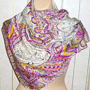 """Vintage 34"""" Silk Scarf with Indian Maharajah Design & Hand Rolled Edges"""