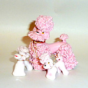 Vintage 1950's Pink Spaghetti Ceramic French Poodle with 2 Puppies