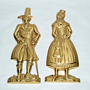 "Vintage Copenhagen Denmark Brass 6"" Man & Woman Wedding Figures Surface Decor"
