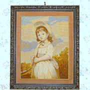 """Vintage 1920 Stunning Needlepoint Picture Portrait in Hand Carved Wood 32"""" Frame"""