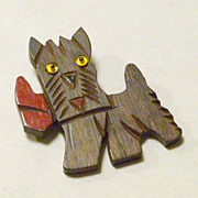 "Vintage 1940's Hand Carved Wood 2"" Scottie Dog with Glass Eyes Brooch / Pin"