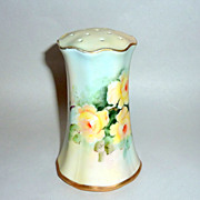 "Antique Germany 5"" tall Painted Yellow Roses Porcelain Hat Pin Holder"
