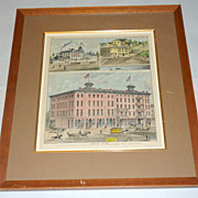 Rare 1874 Colored Lithograph Nicollet House Mpls MN from Andreas Atlas - Framed