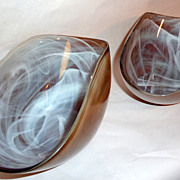 """Spain 2 Golden Toffee Hand Blown and Painted 11"""" Recycled Art Glass Bowls"""