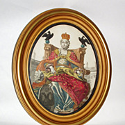 Antique Wood Framed Colored Engraving of Mary Queen of Heaven