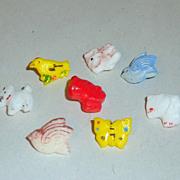 8 Antique Glass Miniature Children's Buttons - Dogs Birds Butterfly