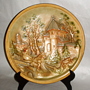 """19th century Antique 14"""" German Christmas Tale Pottery Relief Wall Platter"""