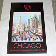 "Vintage 1985 P. Buckley MOSS Chicago Wildlife Western Americana 26"" Framed Print"