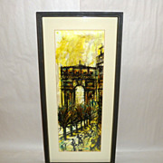 Vintage 1950's Modernist Painting w St. View of Place Charles de Gaulle Paris
