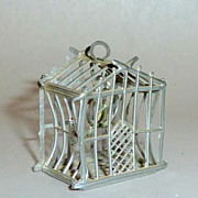 """Antique Soft Metal 1910 Germany Dollhouse 1 1/4"""" Miniature Bird in Cage"""