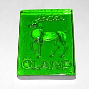 """Vintage Oland Norway 4 3/4"""" Green Crystal Reindeer Paperweight"""