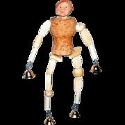 "Vintage OOAK Carved Bone Beads / Champagne Cork / Clay / 6 1/2"" Art Doll"