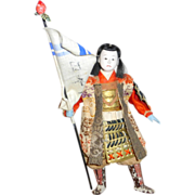 """Antique 19th century Japanese Warrior 8"""" Gofun Doll with Banner ~  Domed Glass"""