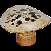 Vintage OOAK Stoneware Pottery Toadstool Mushroom Flower Frog Vase