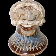 Vintage OOAK Figural Pottery Flower Frog ~ Smiling Man Sculpture Head ~ signed