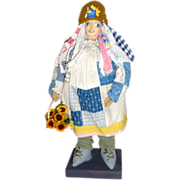 """14"""" OOAK Hand Made Charming Bag Lady Doll with Basket of Flowers"""