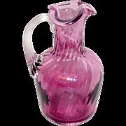 "Vintage Cranberry or Amethyst Swirled & Blown Glass 5"" Cruet"