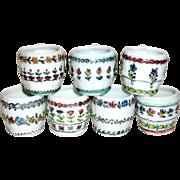 7 Vintage Hand Painted Porcelain European Schnapps Miniature Mugs Cups