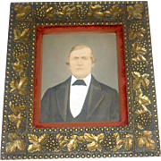 Antique 19th century Heavily Ornate Wood Frame with Oil Painted Portrait of a Gentleman