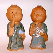 """Vintage 10"""" Japanese Boy and Girl Festival Dolls Pottery Sculpture Figurines"""