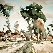 "Vintage R. Hebbelinck Ferme Ensoleillee 25"" Print 288/350 Belgium Landscape"