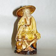 SALE PENDING Vintage Shekwan CHINA Yellow Mud Man Fisherman